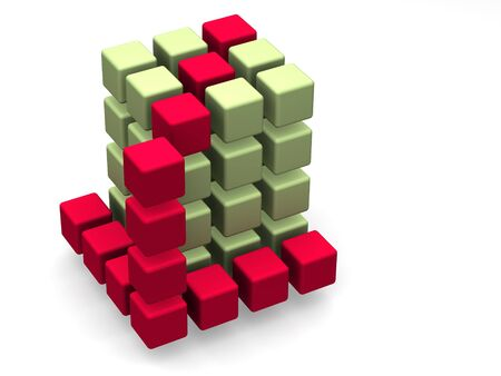 starting a business: many blocks 3d