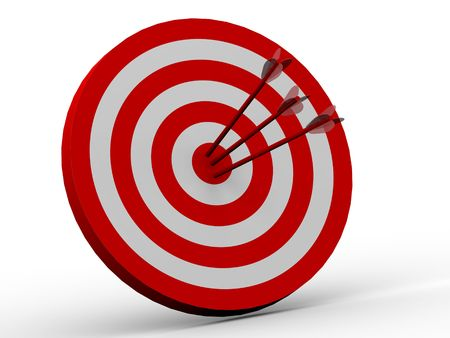 Row Red and White target with arrow  Stock Photo