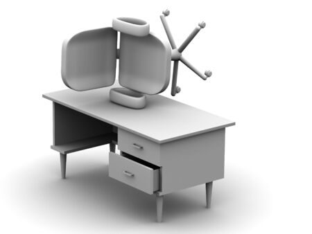 Chair and table 3d Stock Photo - 911818