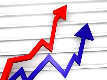 Grafico freccia business con mostrando profitti