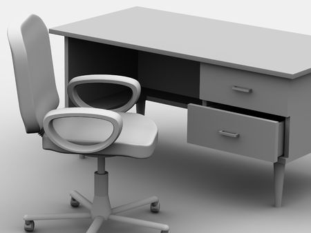 convention: Chair and table. 3d Stock Photo