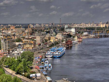dnepr: River station on the river Dnepr. Kiev. Ukraine.