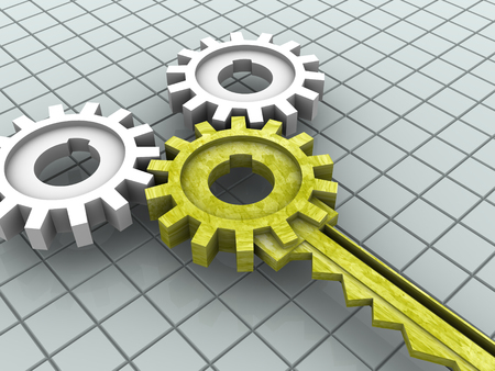 Key and gear. 3d Stock Photo - 1647489
