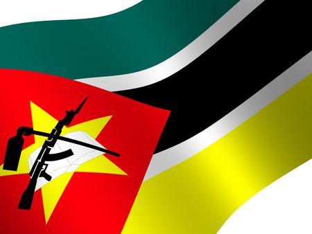 mozambique: National Flag. Mozambique Stock Photo