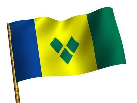 grenadines: National Flag. Saint Vincent and the Grenadines