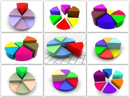 Collage da 9 a tre diagrammi tridimensionali. icone. 3D