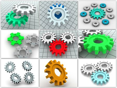 turning operation: Collage from gears. icons. 3d
