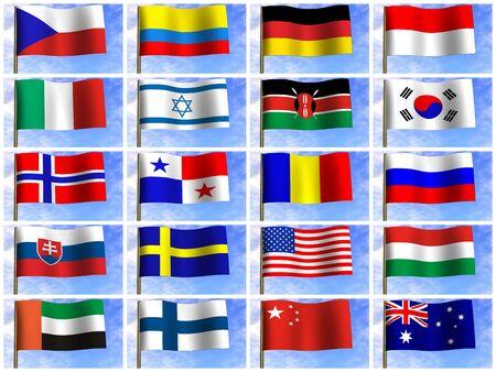 Collage de banderas de los diferentes pa�ses del mundo. icono. 3d Foto de archivo - 4402142