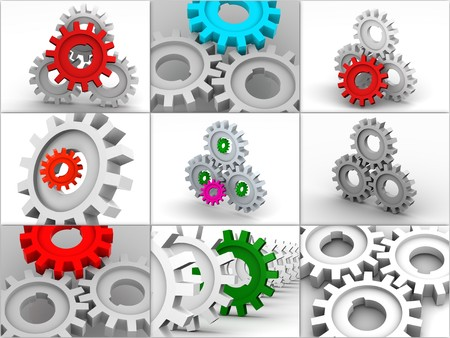 Collage from gears. icons. 3d photo