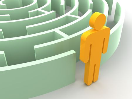 Three-dimensional graphic image. Labyrinth. 3d Stock Photo - 4933770