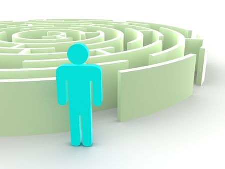 Labyrinth and man. 3d Stock Photo - 5363741