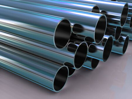 tubing: stack of steel tubing 3d