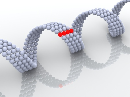 researchs: gene in DNA. 3d