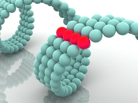 researchs: gene in DNA. 3d