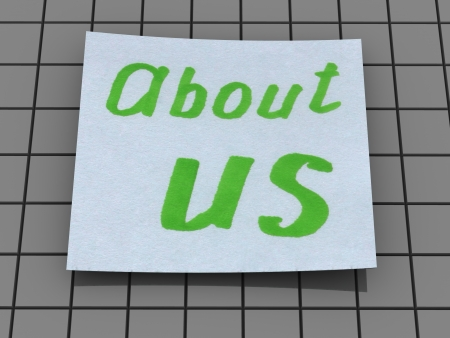 about us: about us  text Stock Photo