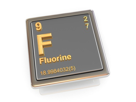 fluorine: Fluorine  Chemical element  3d Stock Photo