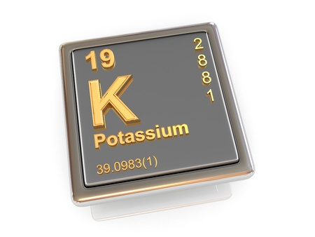 Potassium. Chemical element. 3d photo
