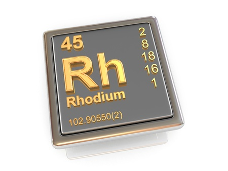 rhodium: Rhodium  Chemical element  3d Stock Photo