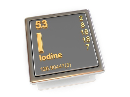 iodine: Iodine  Chemical element  3d Stock Photo
