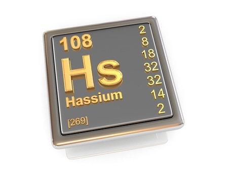 Hassium  Chemical element  3d Stock Photo - 19847879