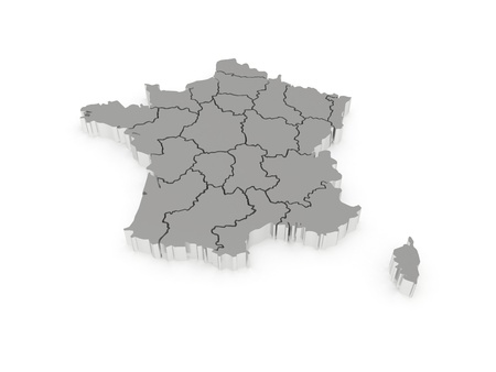 corsica: Three-dimensional map of France  3d Stock Photo