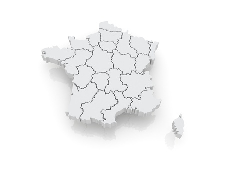 frenchman: Three-dimensional map of France  3d Stock Photo