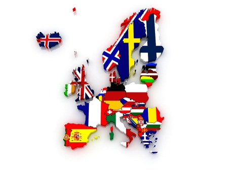 austria map: three-dimensional map of Europe  3d