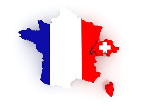 diplomacy: Map of France and Switzerland  3d