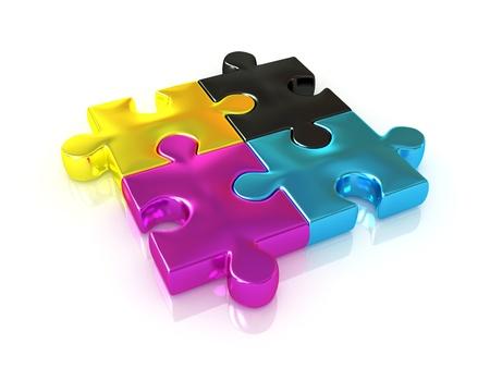 polygraphic: CMYK  Puzzle  3d