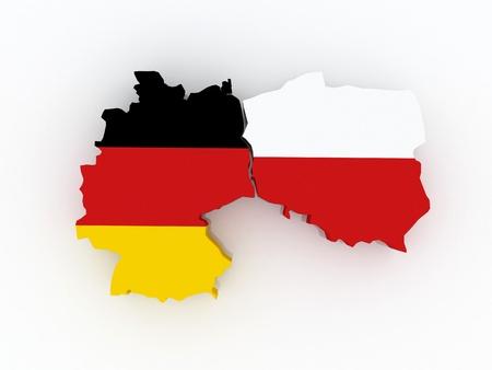 ドイツとポーランドの地図 3 d 写真素材