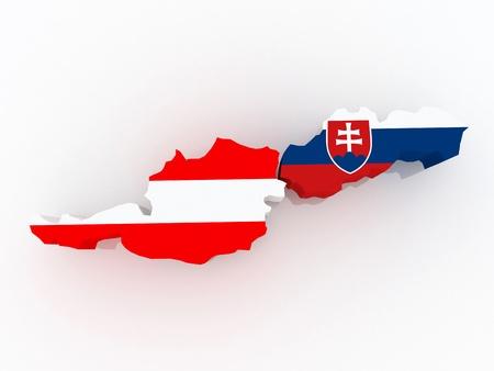 diplomacy: Map of Austria and Slovakia  3d