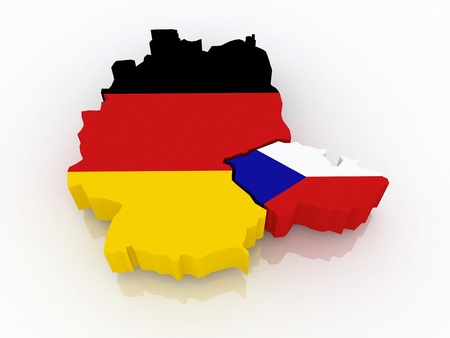 Map of Germany and the Czech Republic  3d photo