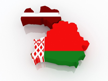 diplomacy: Map of Latvia and Belarus  3d