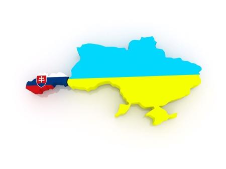 diplomacy: Map of Slovakia and Ukraine  3d