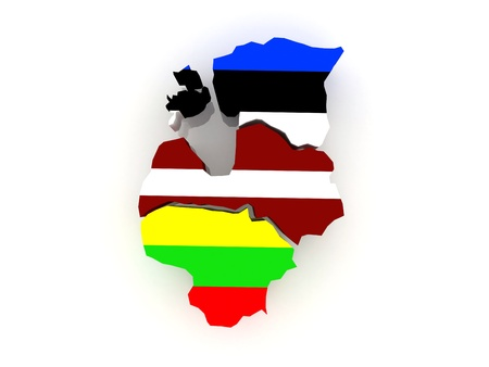 baltic: Map of Baltic States  3d