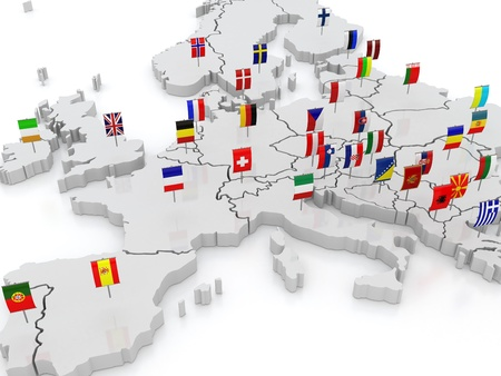 three-dimensional map of Europe  3d photo