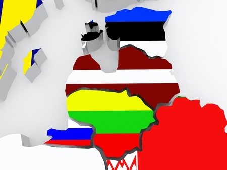 baltic: Map of Baltic. 3d
