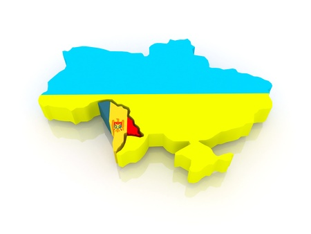 Map of Ukraine and Moldova. 3d photo