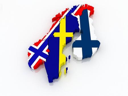 Map of Scandinavia. 3d Stock Photo
