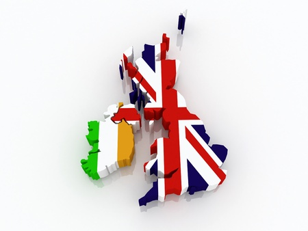 republics: Map of Ireland and England. 3d Stock Photo