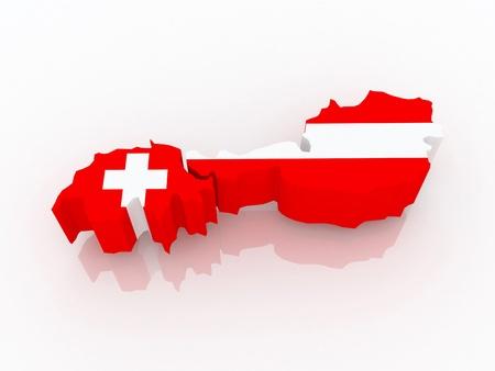 republics: Map of Switzerland and Austria. 3d