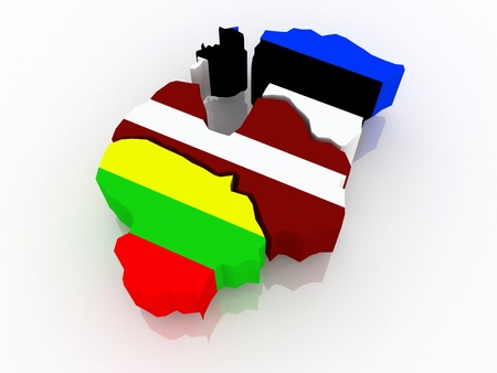 baltic: Map of Baltic states. 3d Stock Photo