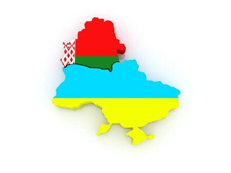 belarus: Map of Belarus and Ukraine. 3d