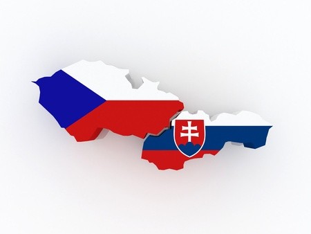 Map of Czech Republic and Slovakia. 3d photo