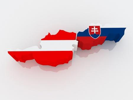 republics: Map of Austria and Slovakia. 3d