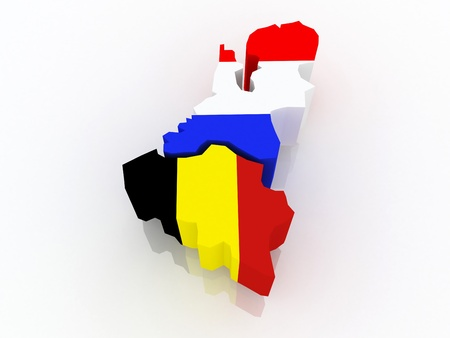 Map of Belgium and Holland. 3d Stock Photo