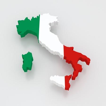 republics: Three-dimensional map of Italy. 3d