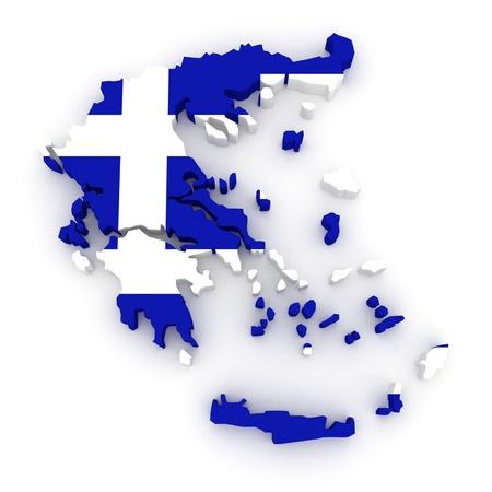 republics: Three-dimensional map of Greece. 3d Stock Photo