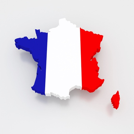 republics: Three-dimensional map of France. 3d Stock Photo
