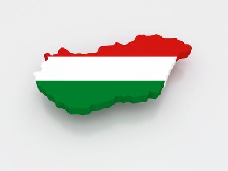 republics: Three-dimensional map of Hungary. 3d Stock Photo